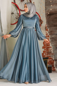 Modest Evening Dress - Blue