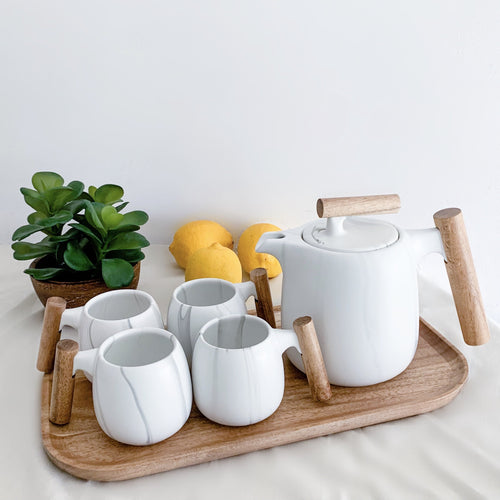 coffee teapot set with wooden tray