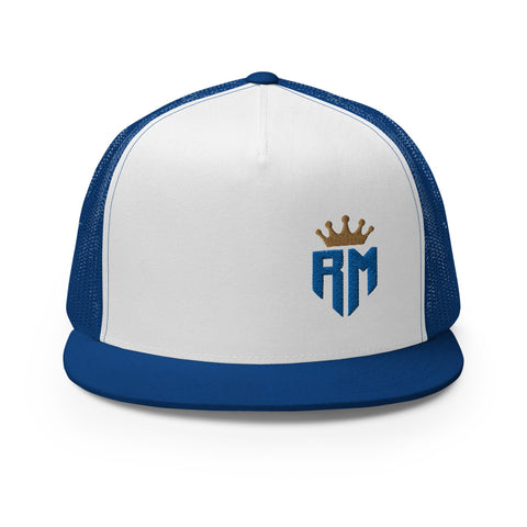 Madrid Champions Crown Blue Logo Soccer Trucker Hat