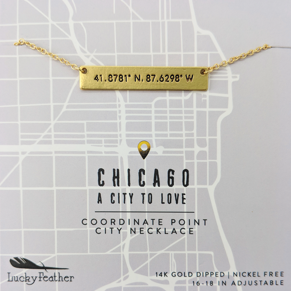 Coordinate City Necklace - Chicago - 4 pk
