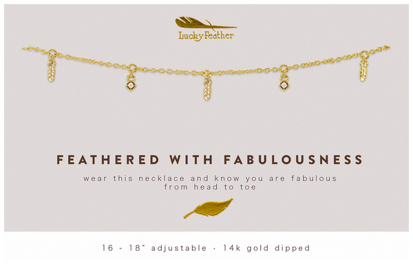 Dangle Necklace Gold - FEATHERS OF FAB - 4 pk