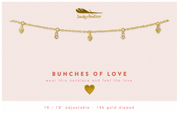 Dangle Necklace Gold - BUNCHES OF LOVE - 4 pk