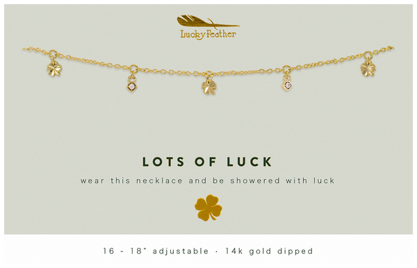 Dangle Necklace Gold - LOTS OF LUCK - 4 pk