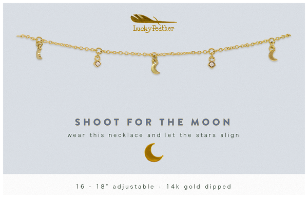 Dangle Necklace Gold - SHOOT FOR MOON - 4 pk