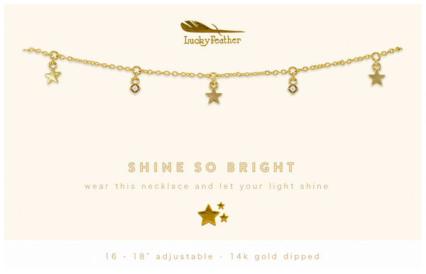 Dangle Necklace Gold - SHINE SO BRIGHT - 4 pk