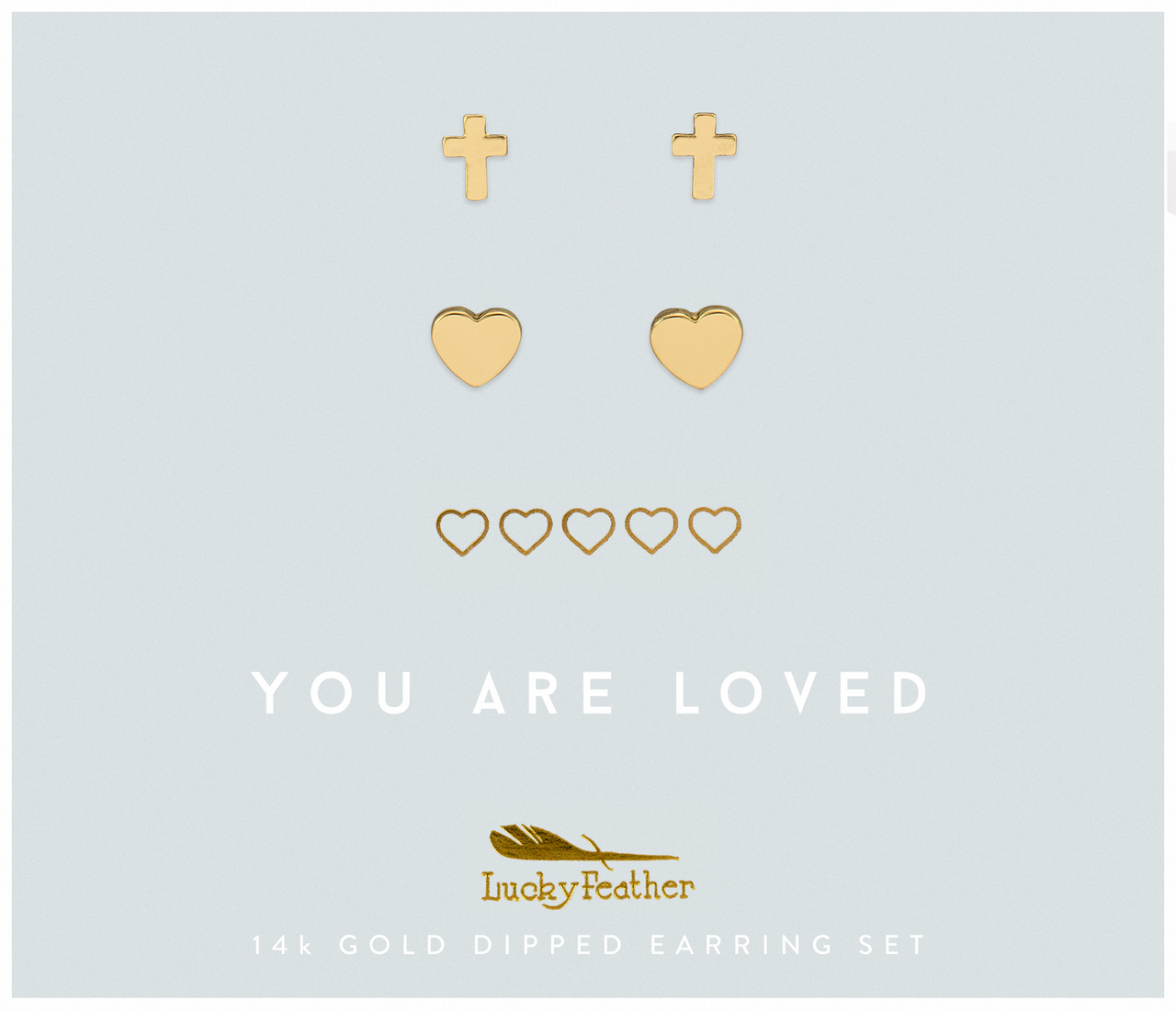 Faith - Loved Cross and Hearts Earring Set - GOLD - 4 pk