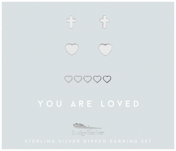 Faith - Loved Cross and Hearts Earring Set - SILVER - 4 pk