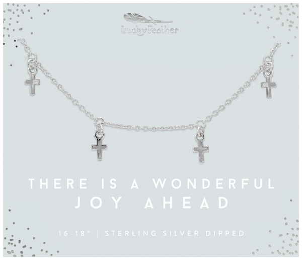 Faith - Wonderful Joy Cross Dangle Necklace - SILVER - 4 pk