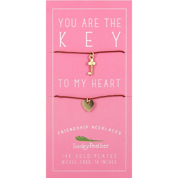 Friendship Necklace - Gold - KEY/HEART - 4 pk