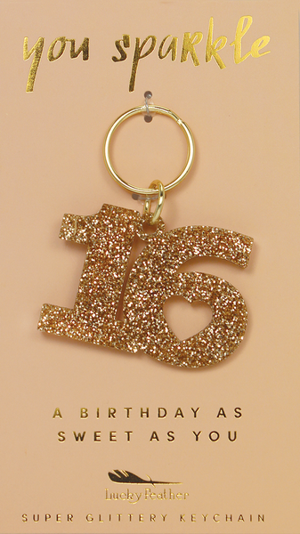 Gold Glitter Key - Shape - SWEET 16 - 4 pk