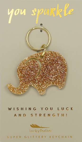Gold Glitter Key - Shape - ELEPHANT - 4 pk