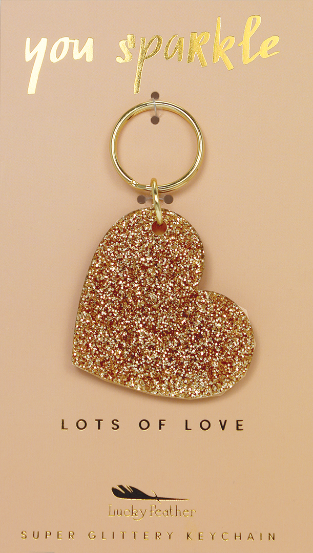 Gold Glitter Key - Shape - HEART - 4 pk