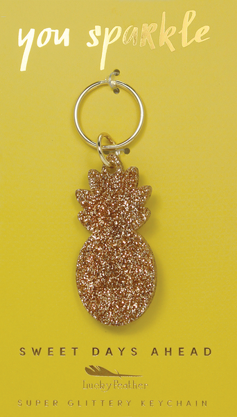 Gold Glitter Key - Shape - PINEAPPLE - 4 pk