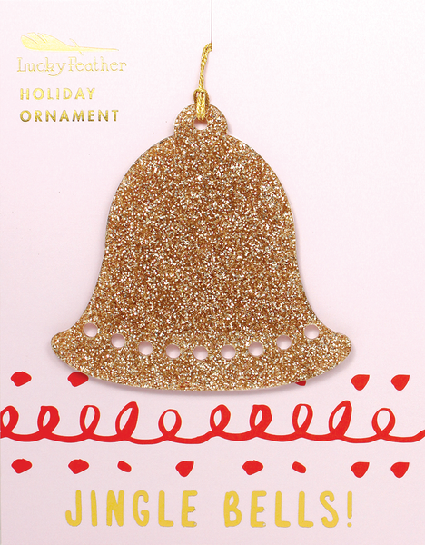 Gold Glitter Ornament - Shape - BELL - 4 pk