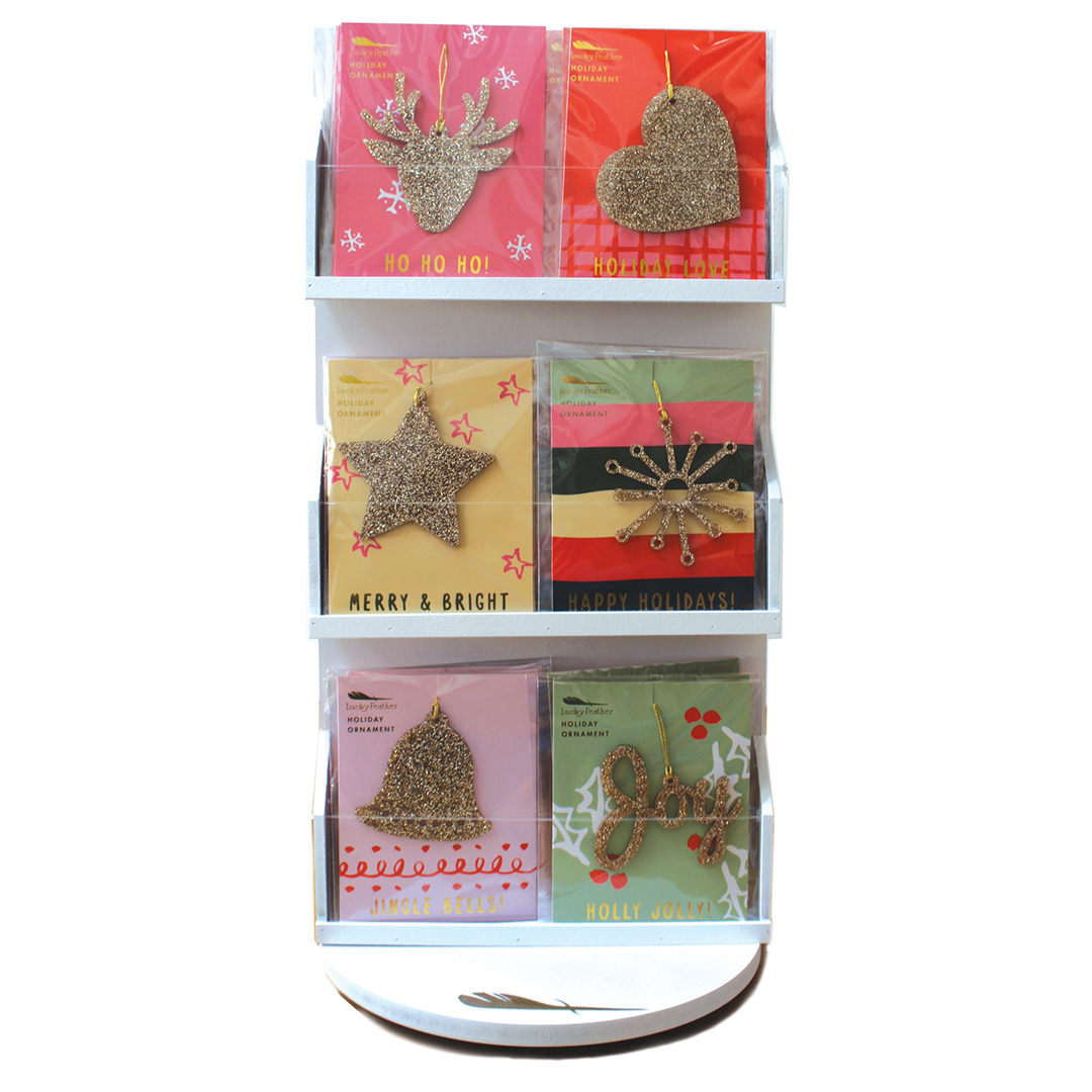 Bundle includes 2 qty 4 pk (8 pc) of each ornament (48 pc) plus 2-sided Spinner Display