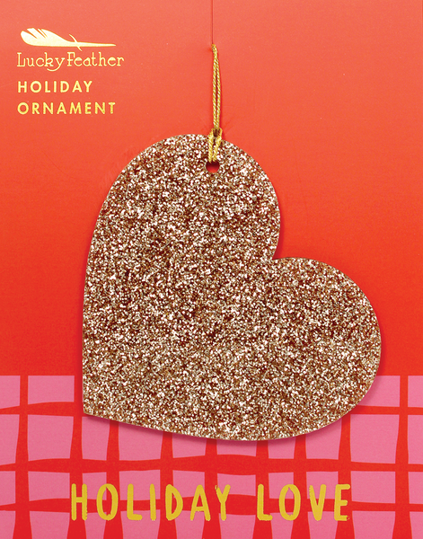 Gold Glitter Ornament - Shape - HEART - 4 pk