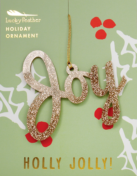 Gold Glitter Ornament - Shape - JOY - 4 pk