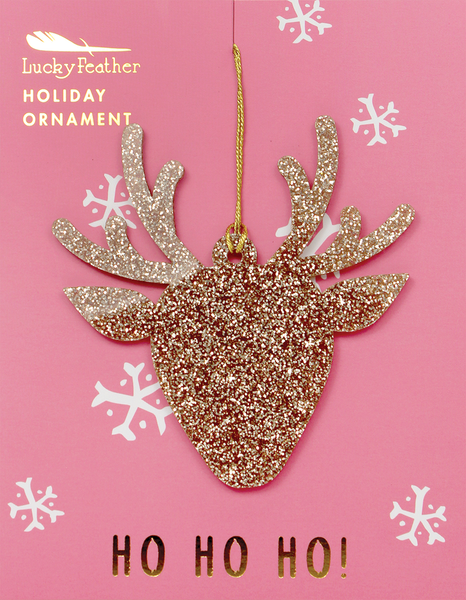 Gold Glitter Ornament - Shape - REINDEER - 4 pk