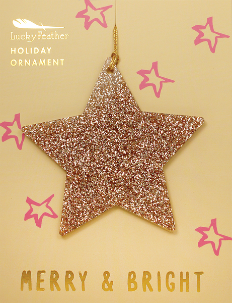 Gold Glitter Ornament - Shape - STAR - 4 pk
