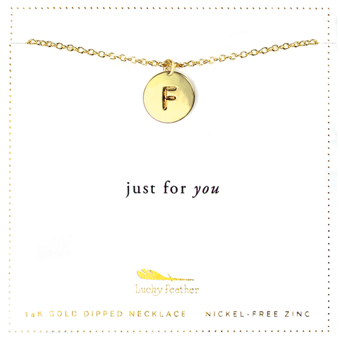 Letter Disc Necklace - Gold - F - 4 pk