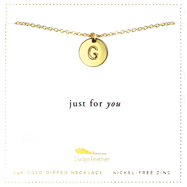 Letter Disc Necklace - Gold - G - 4 pk