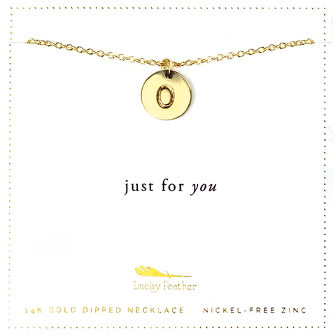 Letter Disc Necklace - Gold - O - 4 pk