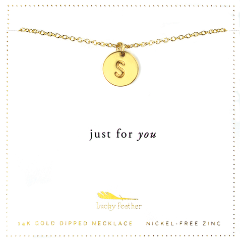 Letter Disc Necklace - Gold - S - 4 pk