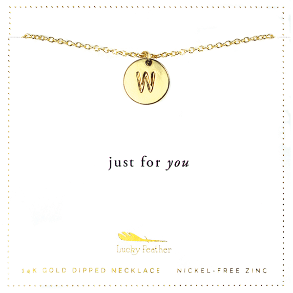 Letter Disc Necklace - Gold - W