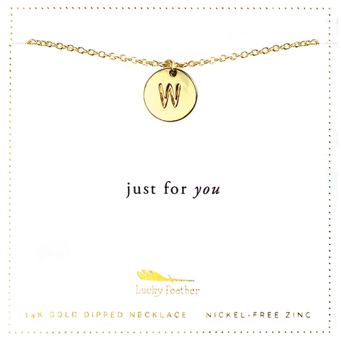 Letter Disc Necklace - Gold - W - 4 pk
