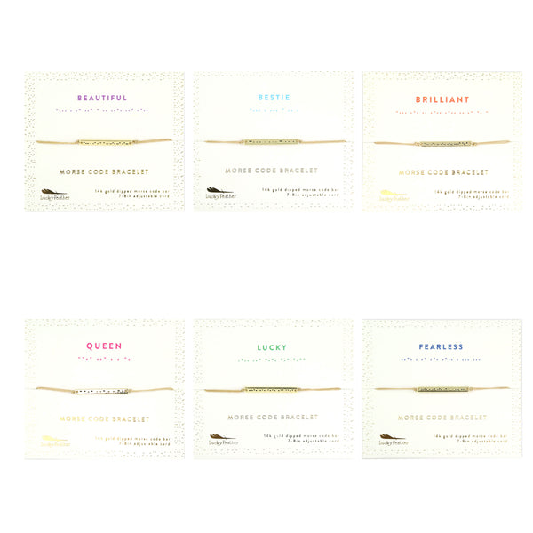 Morse Code Bar Bracelet ASSORTMENT includes 4 of each Style -24 pc (no display)