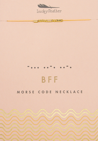 Morse Code Necklace - Gold - BFF - 4 pk