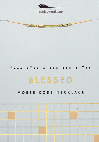 Morse Code Necklace - Gold - BLESSED - 4 pk