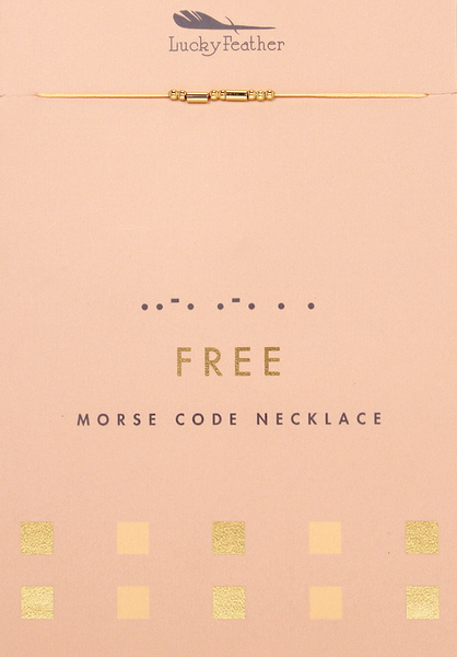 Morse Code Necklace - Gold - FREE - 4 pk