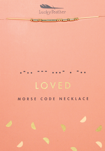 Morse Code Necklace - Gold - LOVED - 4 pk