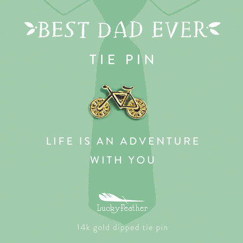 Tie Pin - Life is An Adventure with You - Gold - Bike - 4 pk
