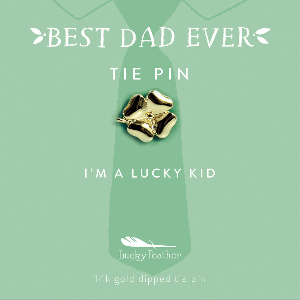 Tie Pin - I'm a lucky kid - Gold - Clover - 4 pk