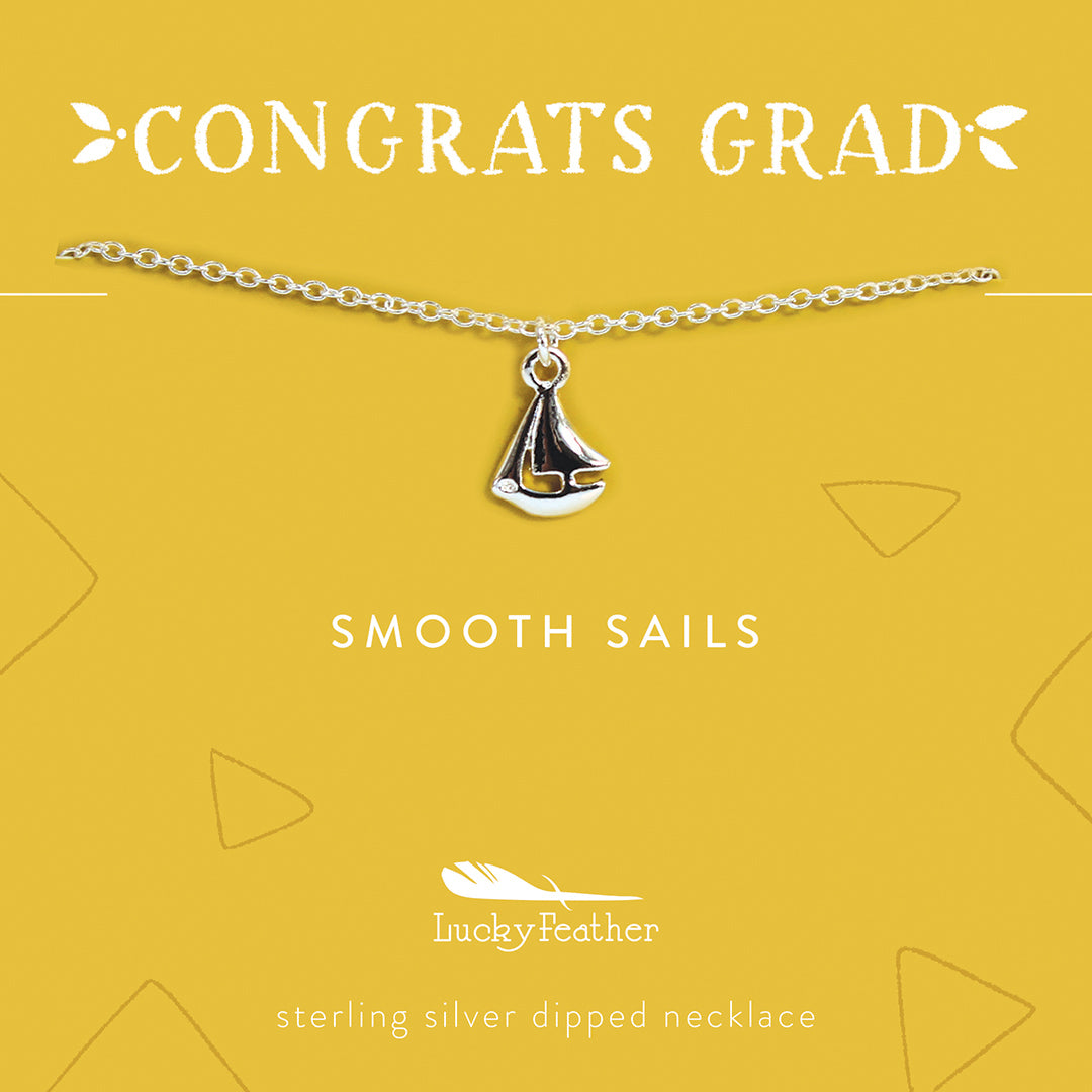 Grad Necklace - Smooth Sails - Silver Boat - 4pk
