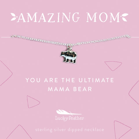 Mom Necklace - You are the Ultimate Mama Bear - Silver - Bear - 4pk