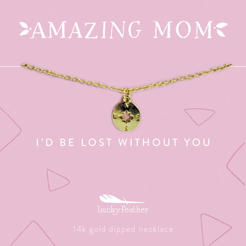 Mom Necklace - I'd Be Lost Without You - Gold - Compass - 4pk