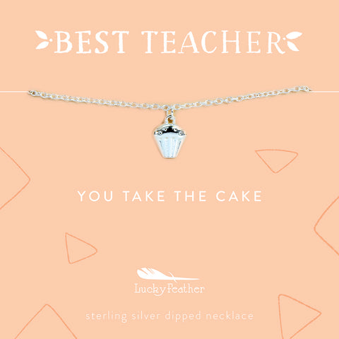 Teacher Necklace - You Take the Cake - Silver - Cupcake - 4 pk