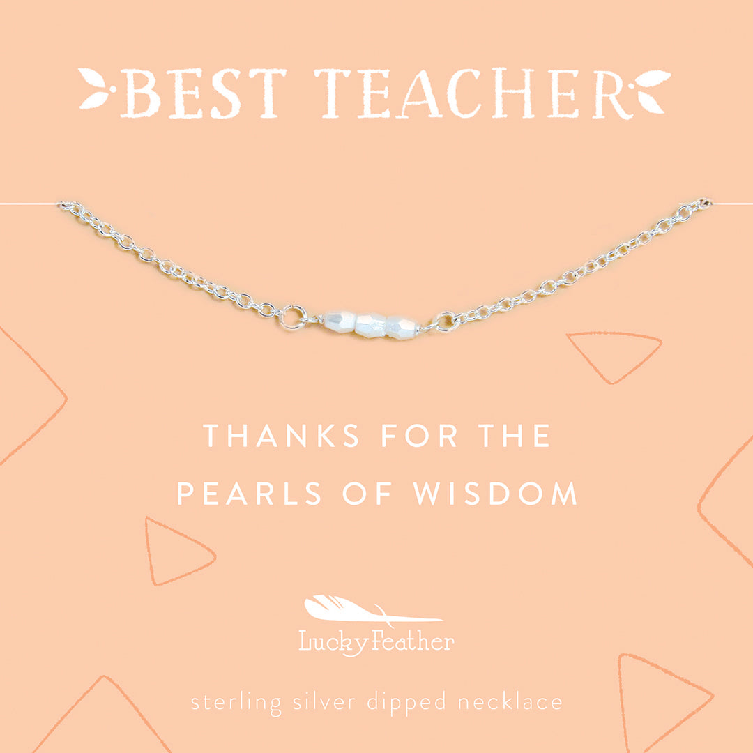 Teacher Necklace - Thanks for the Pearls of Wisdom - 3 Little Pearls - Silver - 4 pk
