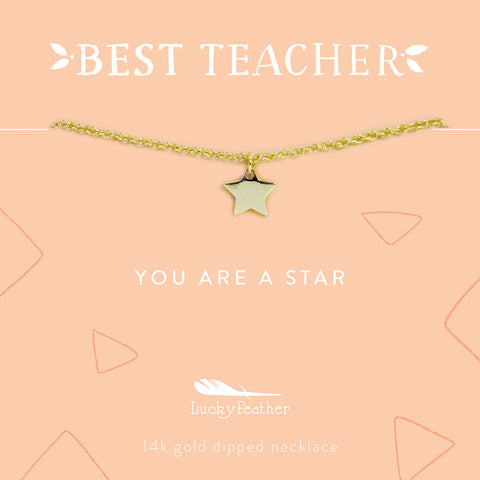 Teacher Necklace - You are a Star Teacher - Gold - Star - 4 pk