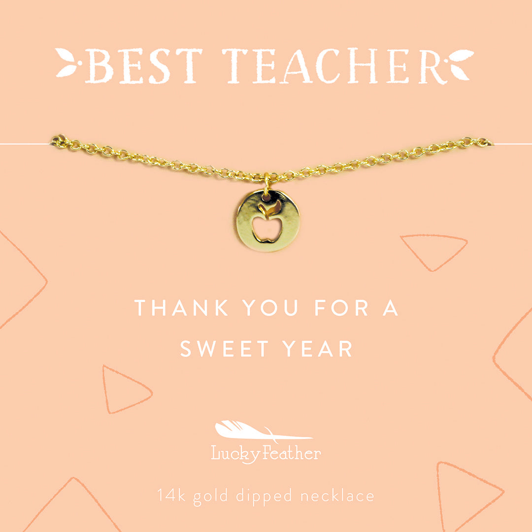 Lucky Feather I Can and I Will Message in a Bottle 14k Gold Dipped Necklace