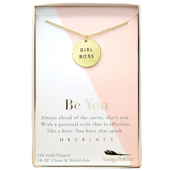 Strong and Sassy - Boxed - Gold Necklace - Girl Boss - 4PK