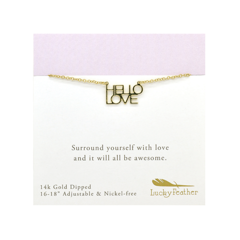 Strong and Sassy - Carded - Gold Necklace - Hello Love - 4PK