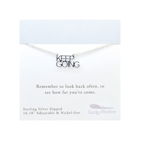 Strong and Sassy - Carded - Silver Necklace - Keep Going - 4PK