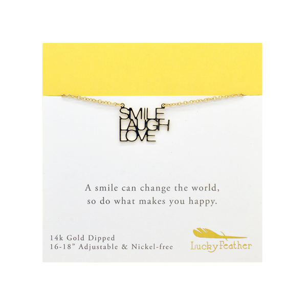 Strong and Sassy - Carded - Gold Necklace - Smile Laugh Love - 4PK