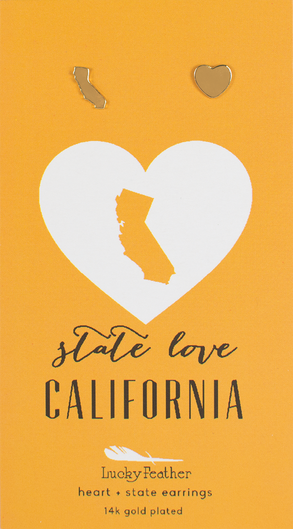 State LOVE Earrings - Gold - CALIFORNIA - 4PK