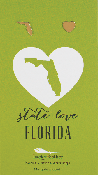 State LOVE Earrings - Gold - FLORIDA - 4PK
