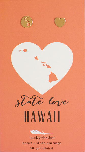 State LOVE Earrings - Gold - HAWAII - 4PK